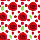 Modello senza cuciture della rosa rossa su bianco illustrazione vettoriale