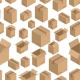Modello senza cuciture della scatola di cartone Fondo d'imballaggio di carta Fotografia Stock