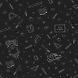 Modello senza cuciture della scuola creativa isolato su fondo nero Fotografie Stock
