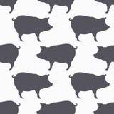 Modello senza cuciture della siluetta del maiale Fondo della carne suina Fotografia Stock Libera da Diritti