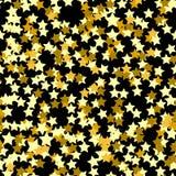 Modello senza cuciture della stella d'oro Fondo di festa, modello senza cuciture con le stelle Immagini Stock