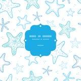 Modello senza cuciture della struttura di arte di linea blu delle stelle marine royalty illustrazione gratis