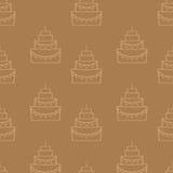 Modello senza cuciture della torta di compleanno saporita Immagini Stock