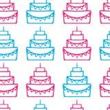 Modello senza cuciture della torta di compleanno saporita Fotografia Stock
