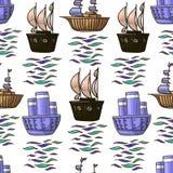 Modello senza cuciture della varia delle navi di scarabocchio di vettore illustrazione dei bambini nel brownv e nei colori blu is illustrazione di stock