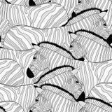 Modello senza cuciture della zebra Il profilo ha barrato in bianco e nero illustrazione vettoriale
