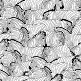 Modello senza cuciture della zebra Il profilo ha barrato in bianco e nero royalty illustrazione gratis