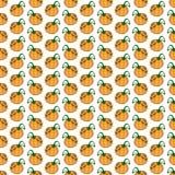 Modello senza cuciture della zucca di verdure divertente arancio del fumetto royalty illustrazione gratis