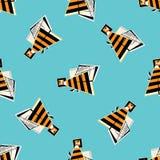 Modello senza cuciture delle api Fondo variopinto dell'ape mellifica astratta Struttura luminosa divertente per la carta da parat Fotografia Stock