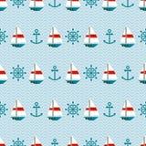 Modello senza cuciture delle barche a vela, delle ancore e dello steerin Fotografia Stock Libera da Diritti
