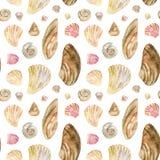 Modello senza cuciture delle coperture dell'acquerello di rosa e di beige illustrazione di stock