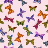Modello senza cuciture delle farfalle variopinte di scarabocchio di vettore Fotografia Stock