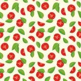 Modello senza cuciture delle foglie del basilico e dei pomodori Fotografia Stock