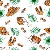 Modello senza cuciture delle foglie di palma illustrazione di stock