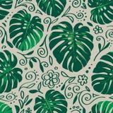 Modello senza cuciture delle foglie di palma di monstera con la linea elementi di scarabocchio illustrazione di stock
