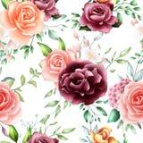 Modello senza cuciture delle foglie floreali dell'acquerello illustrazione di stock