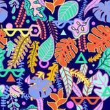 Modello senza cuciture delle foglie tropicali vibranti tropicali Fotografie Stock