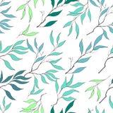 Modello senza cuciture delle foglie verdi delicate illustrazione di stock