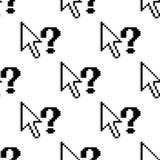 Modello senza cuciture delle frecce e dei punti interrogativi Immagine Stock