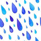 Modello senza cuciture delle gocce di pioggia dipinto acquerello Fotografie Stock Libere da Diritti