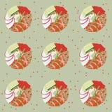 Modello senza cuciture delle guarnizioni di gomma piuma dei sushi su fondo verde Immagini Stock Libere da Diritti