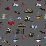 Modello senza cuciture delle icone con i sushi Fotografia Stock Libera da Diritti