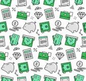 Modello senza cuciture delle icone degli elementi di finanza illustrazione di stock