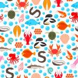 Modello senza cuciture delle icone del pesce e dei frutti di mare illustrazione di stock