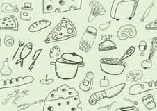 Modello senza cuciture delle icone dell'alimento Fotografie Stock Libere da Diritti