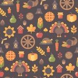 Modello senza cuciture delle icone di autunno Priorità bassa di ringraziamento illustrazione vettoriale