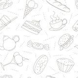 Modello senza cuciture delle icone di scarabocchio del profilo per il ricevimento pomeridiano illustrazione di stock