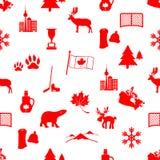 Modello senza cuciture delle icone di simboli di tema del paese del Canada Immagine Stock