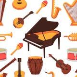 Modello senza cuciture delle icone piane degli strumenti musicali Vettore illustrazione di stock
