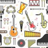 Modello senza cuciture delle icone piane degli strumenti musicali Vettore isolato royalty illustrazione gratis
