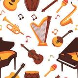 Modello senza cuciture delle icone piane degli strumenti musicali Vettore isolato illustrazione vettoriale