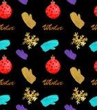 Modello senza cuciture delle illustrazioni di Natale dell'acquerello con i fiocchi di neve, le palle, i guanti e la copia di inve illustrazione di stock