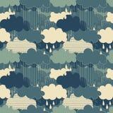 Modello senza cuciture delle illustrazioni di stagione della pioggia Fotografie Stock Libere da Diritti
