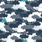 Modello senza cuciture delle illustrazioni di stagione della pioggia Immagini Stock Libere da Diritti