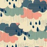 Modello senza cuciture delle illustrazioni di stagione della pioggia Immagini Stock