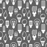 Modello senza cuciture delle lampadine con le icone piane di glifo Tipi delle lampade, fluorescente principali, filamento, alogen Immagine Stock Libera da Diritti