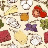 Modello senza cuciture delle lasagne al forno Immagine Stock Libera da Diritti