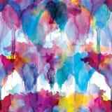 Modello senza cuciture delle macchie dell'acquerello: macchie gialle, rosa, porpora su un fondo bianco illustrazione vettoriale