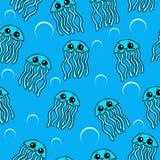 Modello senza cuciture delle meduse sveglie Royalty Illustrazione gratis
