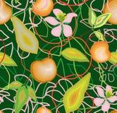 Modello senza cuciture delle mele, delle foglie e dei fiori su un fondo verde Immagine Stock Libera da Diritti