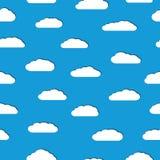 Modello senza cuciture delle nuvole bianche con le ombre Fotografie Stock