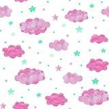 Modello senza cuciture delle nuvole e delle stelle rosa del turchese, fondo del bambino royalty illustrazione gratis