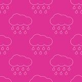 Modello senza cuciture delle nuvole piovose di vettore del profilo illustrazione di stock