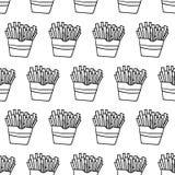 Modello senza cuciture delle patate fritte disegnate a mano Fotografie Stock Libere da Diritti