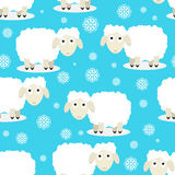 Modello senza cuciture delle pecore divertenti Immagini Stock Libere da Diritti