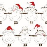 Modello senza cuciture delle pecore divertenti del nuovo anno Fotografia Stock